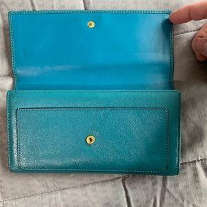 Coach Bags - Coach Vintage Turquoise Blue Leather Wallet